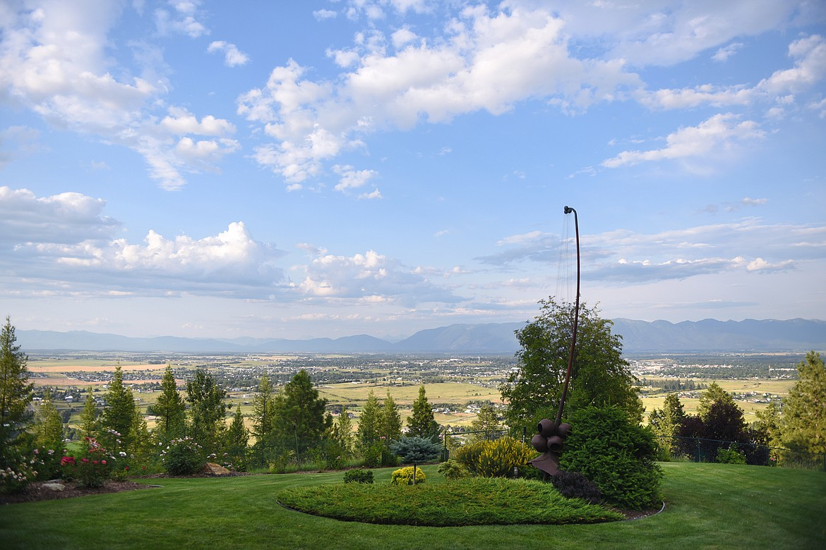 A view of the Flathead Valley during a Splendid Summer Evenings self-guided visit at Bibler Home and Gardens in Kalispell on Wednesday, July 22. Possible dates for future self-guided visits include their Sweet Summer Days on Aug. 3-4, though all tickets must be purchased in advance. (Casey Kreider/Daily Inter Lake)