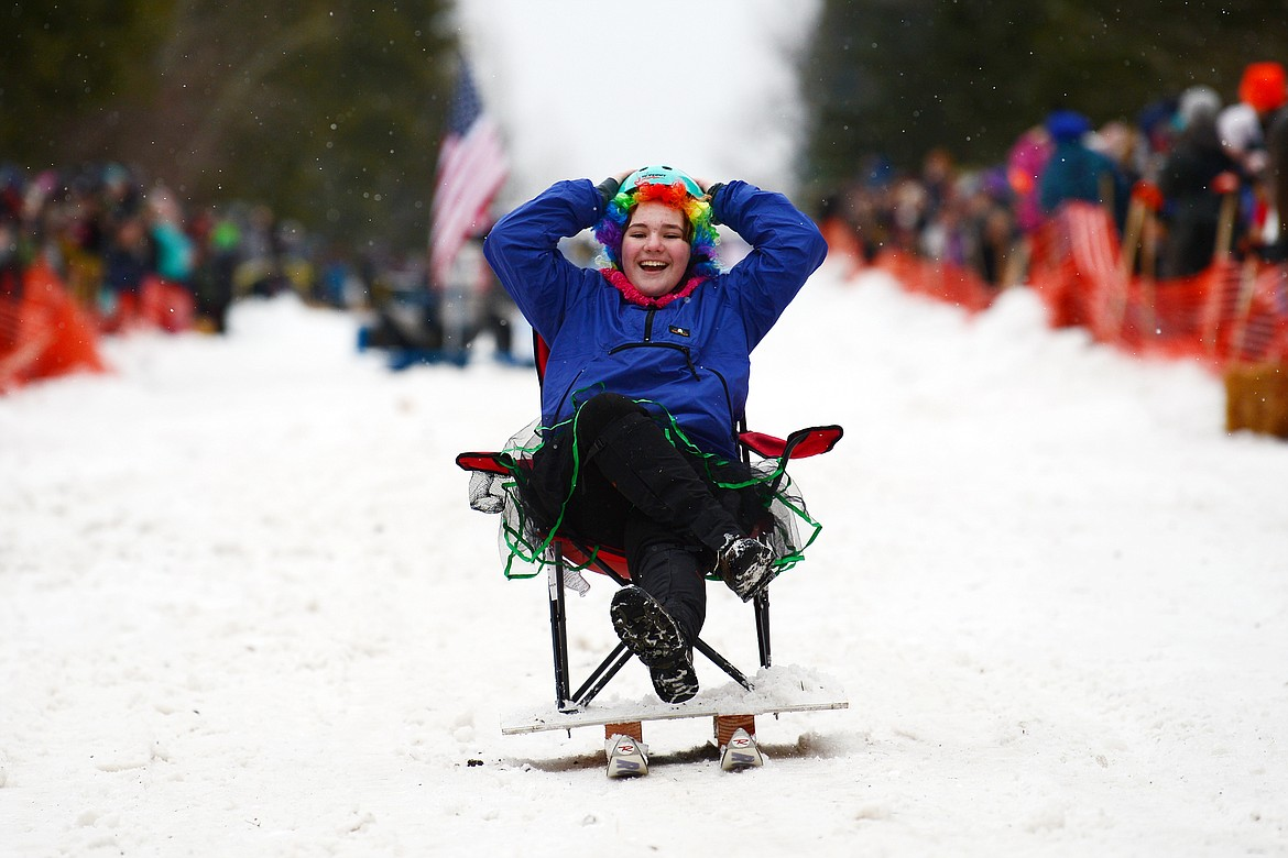 Participants race down Sugar Hill during the Barstool Ski Races at Cabin Fever Days in Martin City on Saturday, Feb. 15. (Casey Kreider/Daily Inter Lake)
