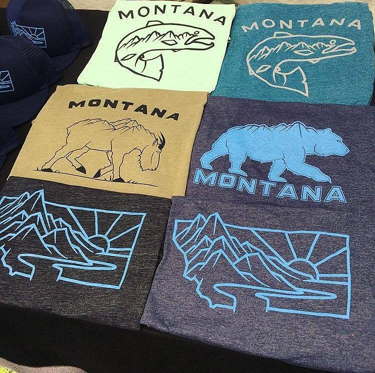 A display of Peaks and Prairie's shirts, with the popular Heritage Design at bottom.