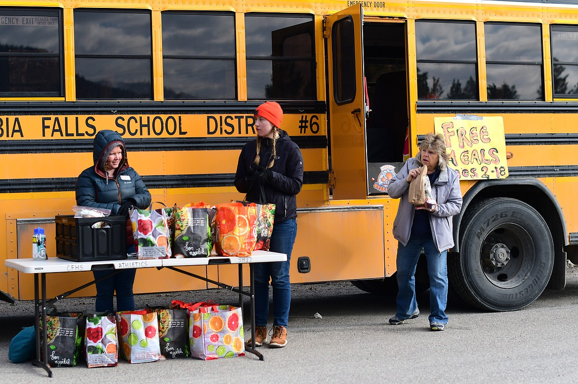 The School District 6 Child Nutrition Program was in full swing during the first week of school shutdowns, providing food to any student in need. Left to right: Brenna Sellars, Andrea Getts, Karen Taylor. (Teresa Byrd/Hungry Horse News)