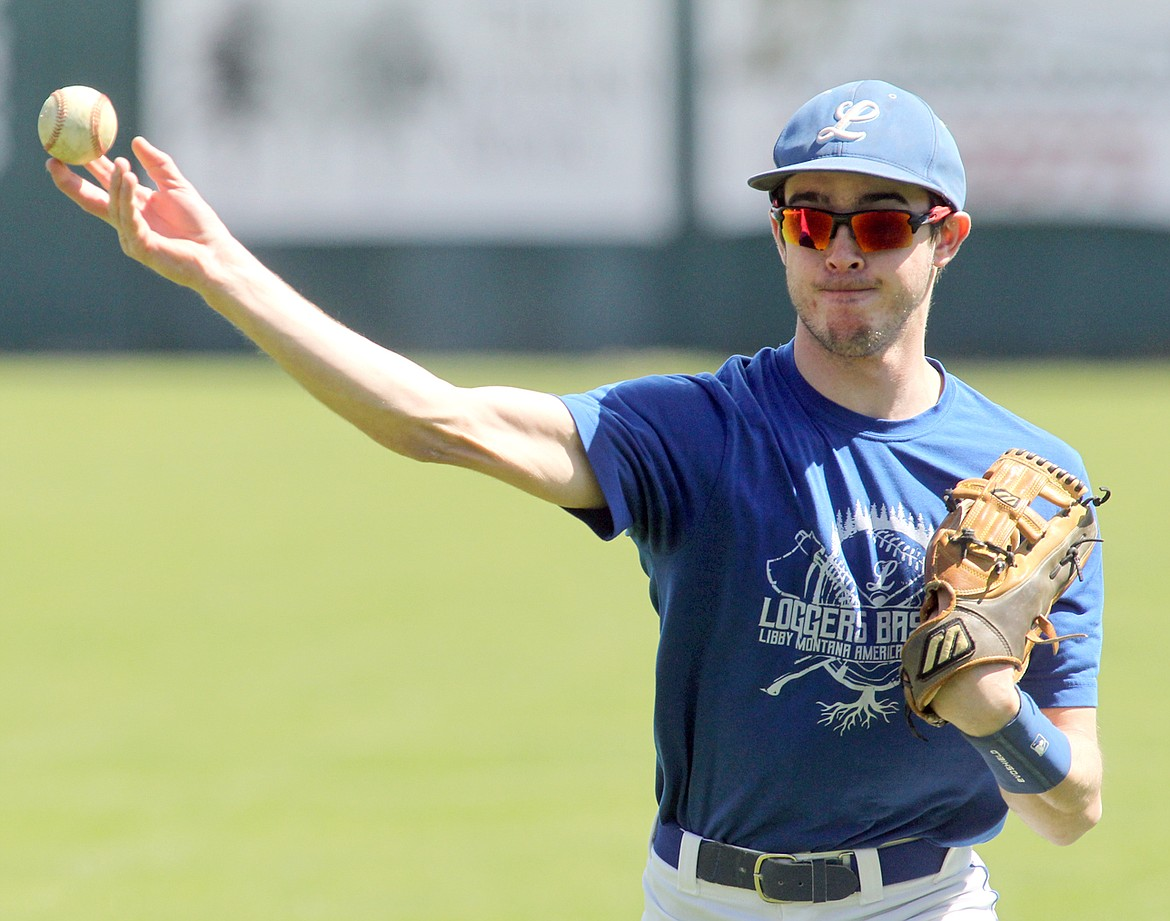 Jeff Offenbecher, a senior at Libby High School, participates in throwing practice for Libby's American Legion team. His coach, Kelly Morford, is optimistic the team may play this season. (Paul Sievers/The Western News)