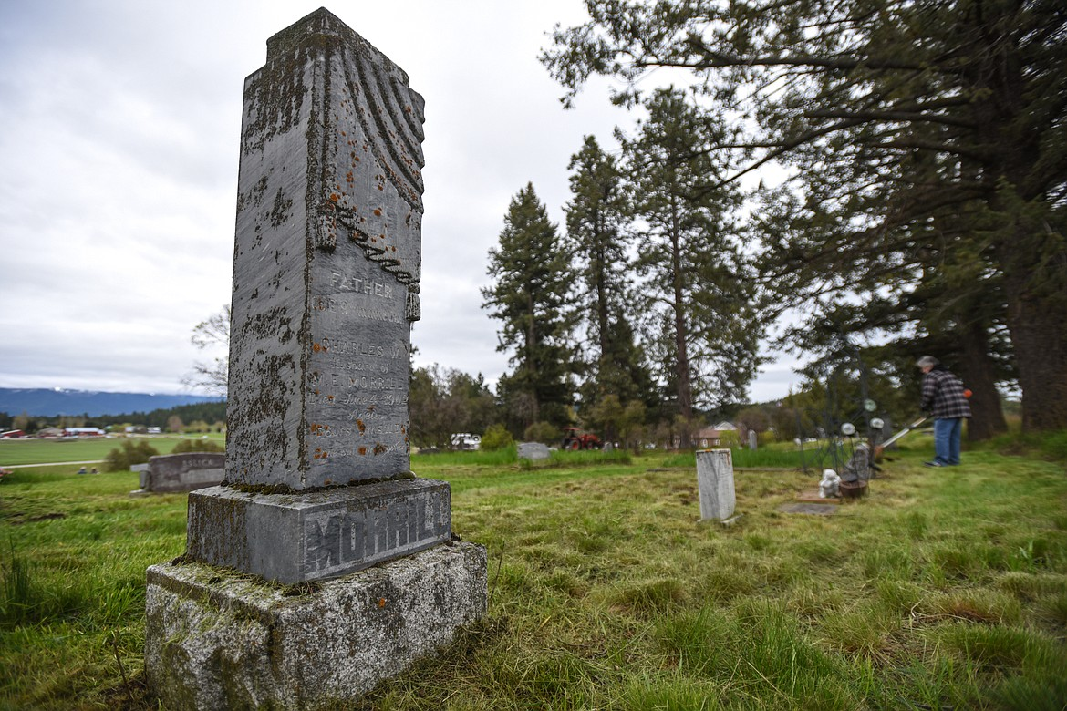 The gravestone of Charles W. Morrill, a U.S. Army veteran of the Civil War, at Lone Pine Cemetery in Bigfork on Friday, May 15. (Casey Kreider/Daily Inter Lake)