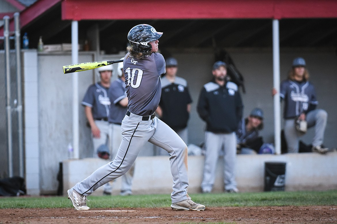 Glacier Twins A's Cade Morgan connects on a double in the sixth inning against Kalispell Lakers AA at Griffin Field on Saturday. (Casey Kreider/Daily Inter Lake)