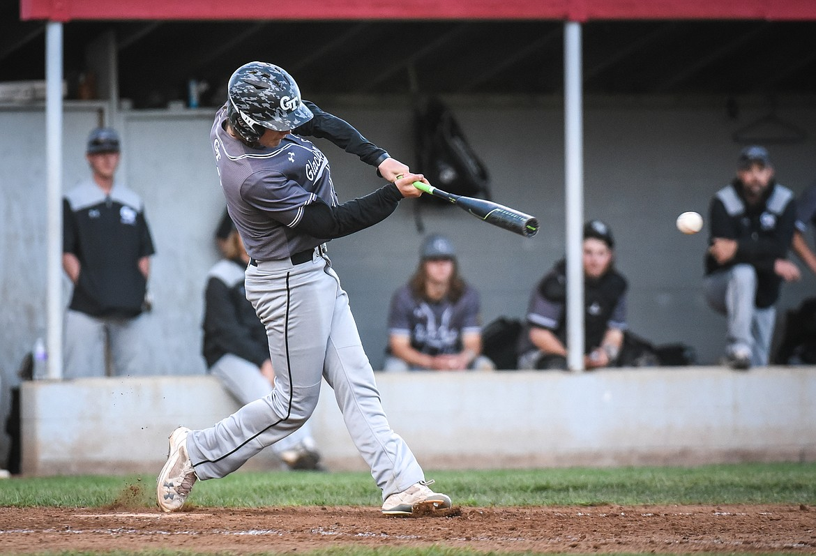 Glacier Twins A's Stevyn Andrachick connects on an RBI single in the top of the fifth inning against the Kalispell Lakers AA at Griffin Field on Saturday. (Casey Kreider/Daily Inter Lake)