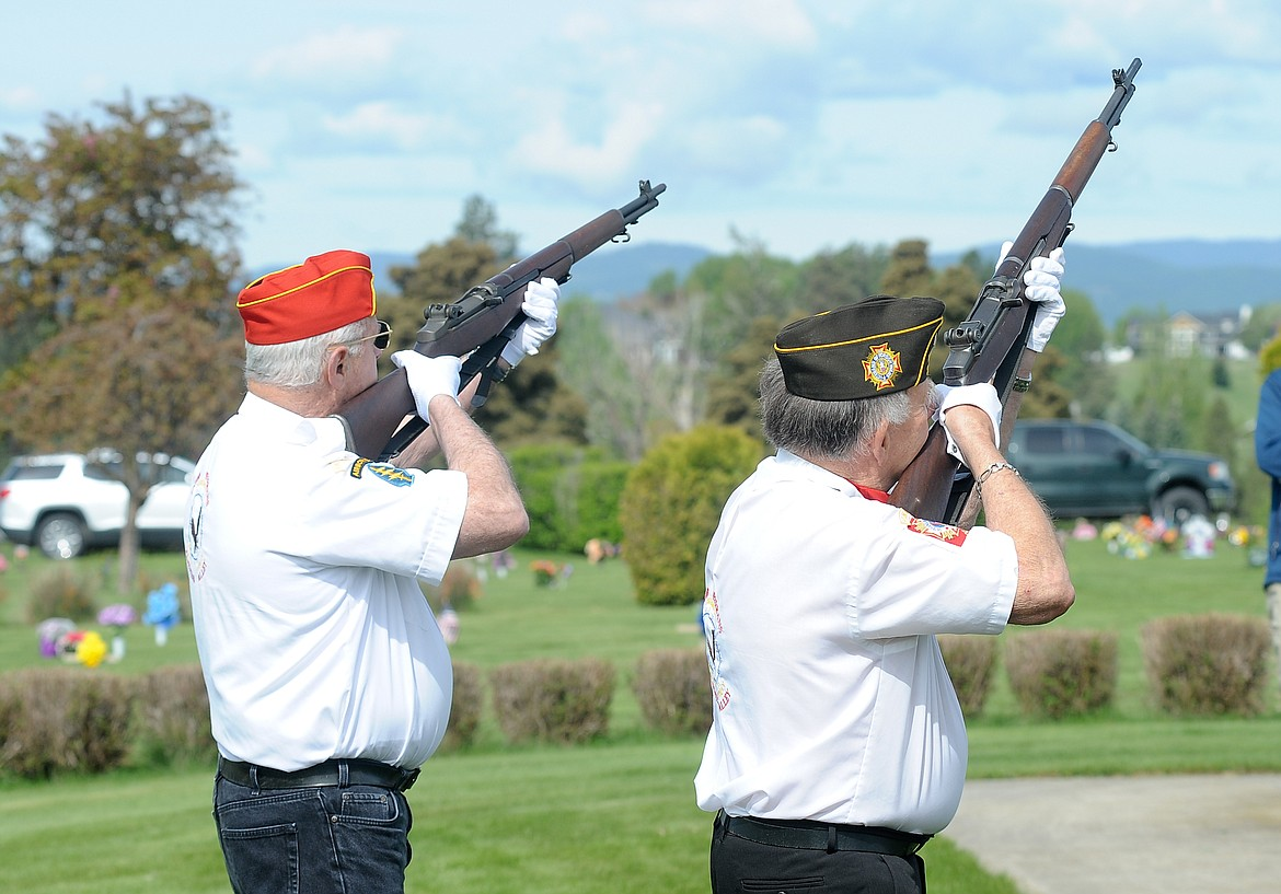 Members with the United Veterans of the Flathead Valley perform a gun salute at the Memorial Day ceremony.