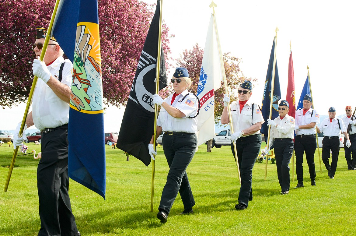 The United Veterans of the Flathead Valley present military honors at Glacier Memorial Gardens cemetery on Memorial Day, May 25. (Matt Baldwin/Daily Inter Lake)