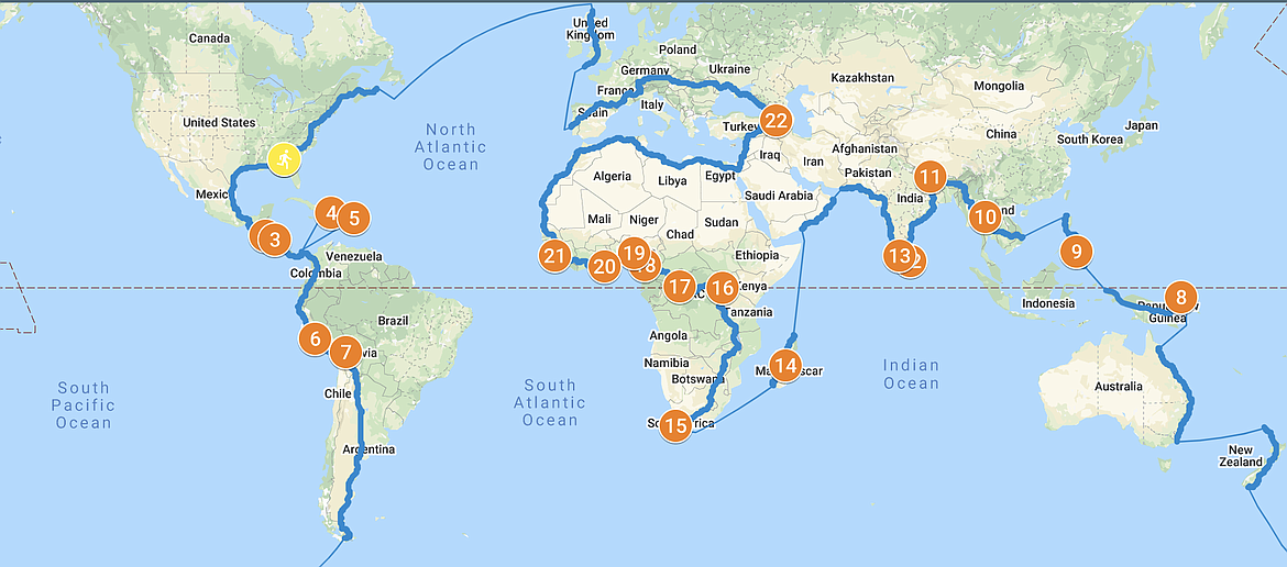 A map showing the path of the virtual tour.