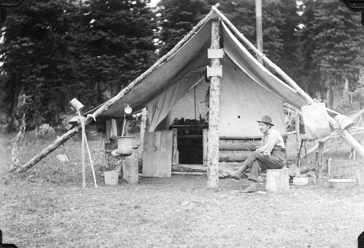 Fred Derry Lookout man on Mt. Aneas camp in Jewel Basin 1914 &15 Echo Dist.   Courtesy of the U.S. Forest Service