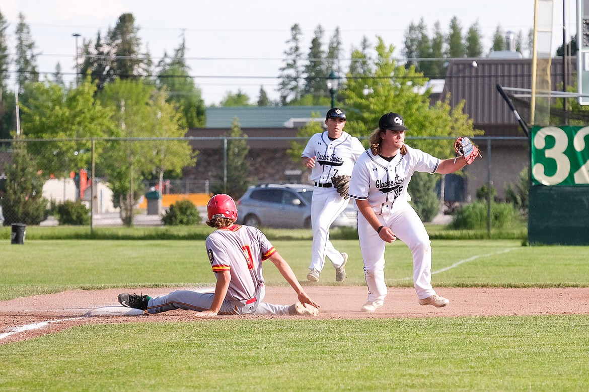 Payton Davisson gets the out at third against the Lakers A squad last Thursday at Memorial Field. (Daniel McKay/Whitefish Pilot)