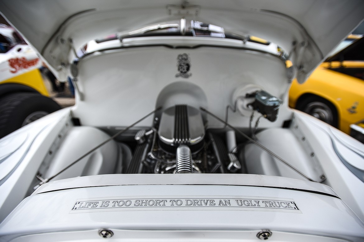 "A message that reads ""Life is too short to drive an ugly truck"" under the hood of Kalispell resident Craig Gunderson's 1947 GMC pickup at The Big Shindig car show hosted by The Glacier Street Rod Association and The Desoto Grill in Kalispell on Saturday, June 20. (Casey Kreider/Daily Inter Lake)"