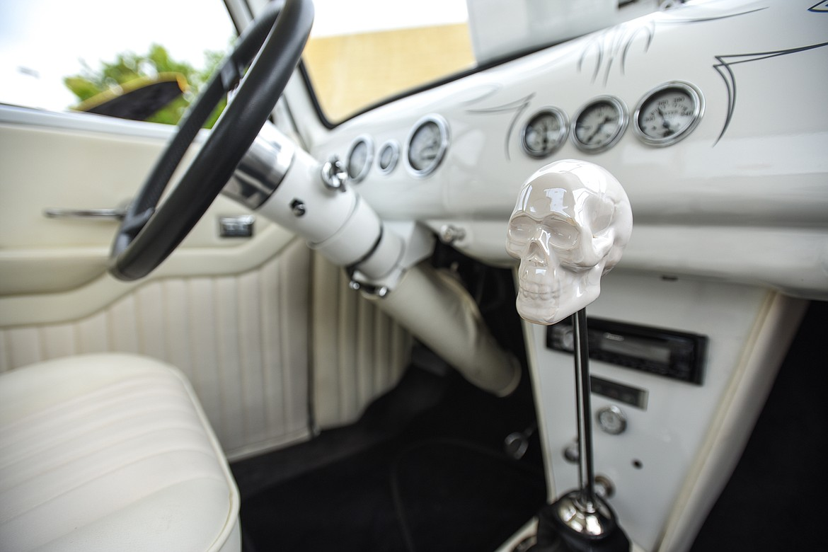 A skull shift knob inside Kalispell resident Craig Gunderson's 1947 GMC pickup at The Big Shindig car show hosted by The Glacier Street Rod Association and The Desoto Grill in Kalispell on Saturday, June 20. (Casey Kreider/Daily Inter Lake)