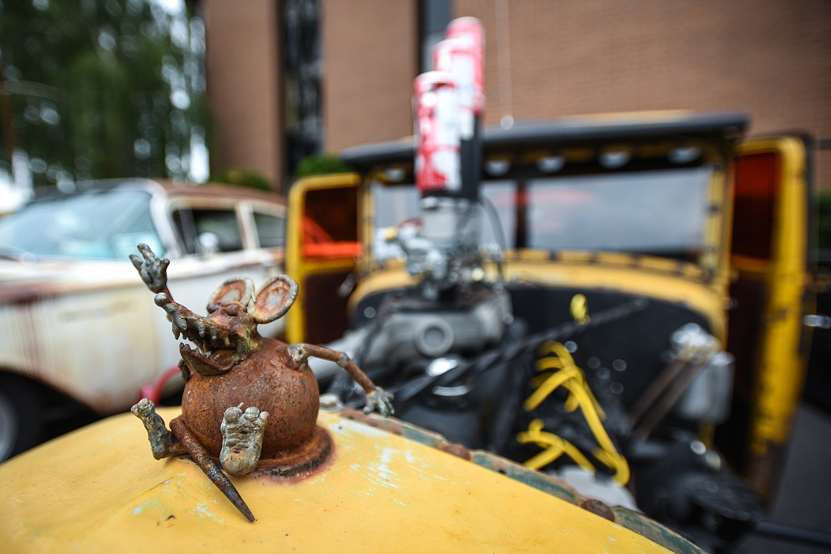 A rat hood ornament decorates a 1937 International owned by Ed and Carlena Quinn  at The Big Shindig car show hosted by The Glacier Street Rod Association and The Desoto Grill in Kalispell on Saturday, June 20. (Casey Kreider/Daily Inter Lake)