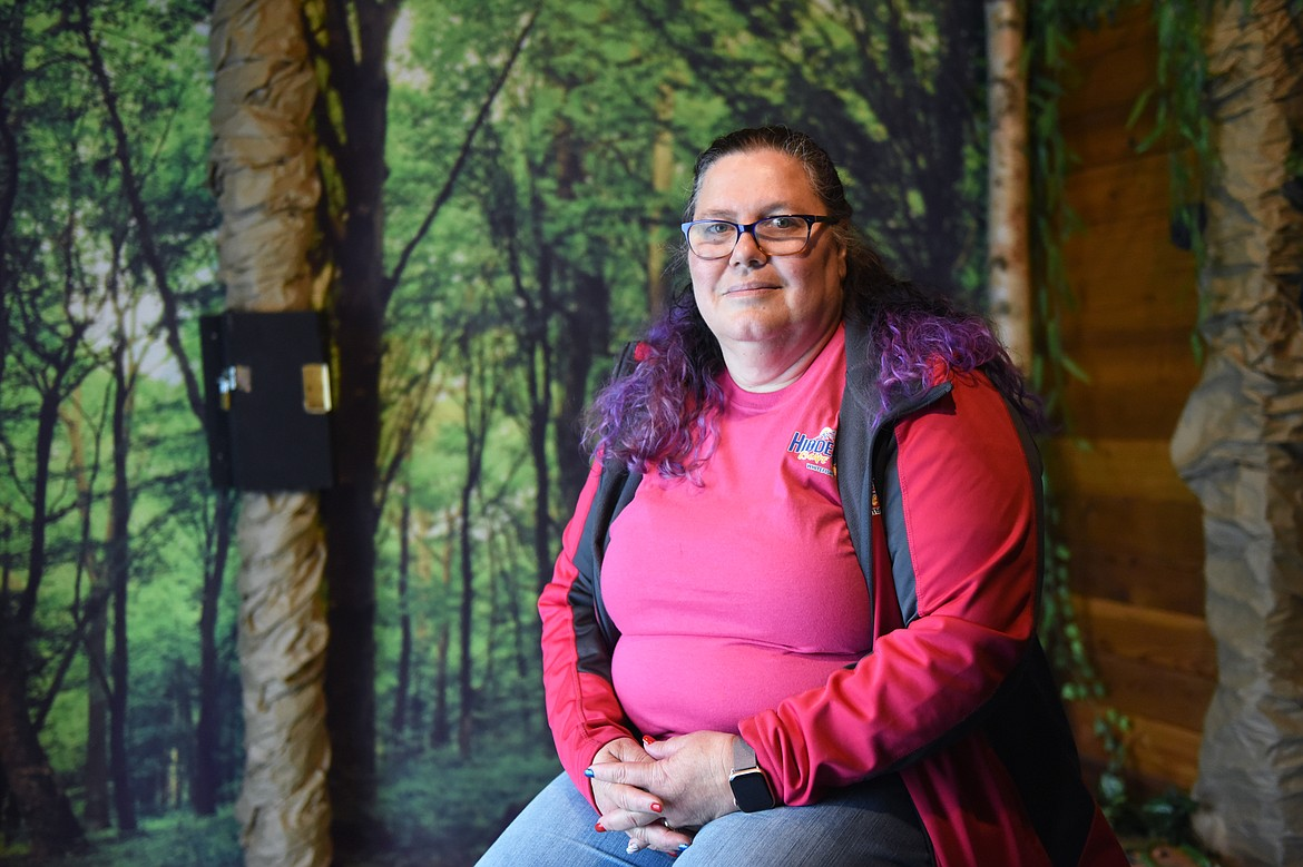 Patty Holcomb, owner at Hidden Key Escape Games in Whitefish, is pictured in the North Fork Cabin room on Tuesday, June 30. (Casey Kreider/Daily Inter Lake)