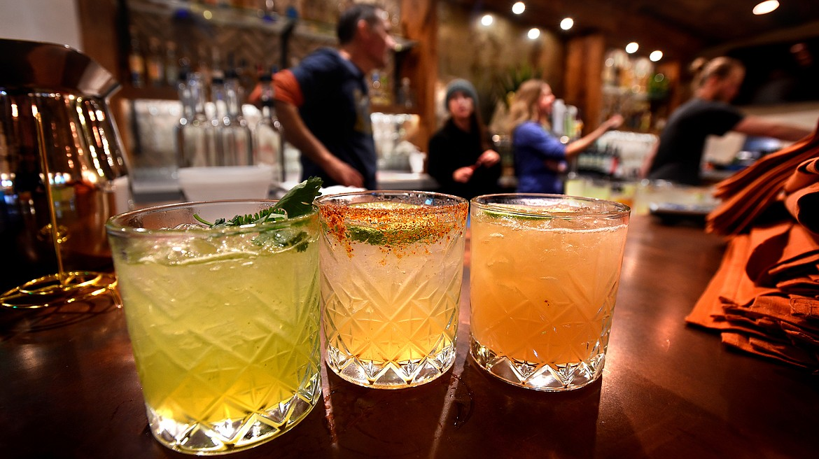 Mixed drinks sit on the bar at Jalisco Cantina in Whitefish. The new Mexican restaurant will offer an expansive selection of tequila. (Jeremy Weber photos/Daily Inter Lake)