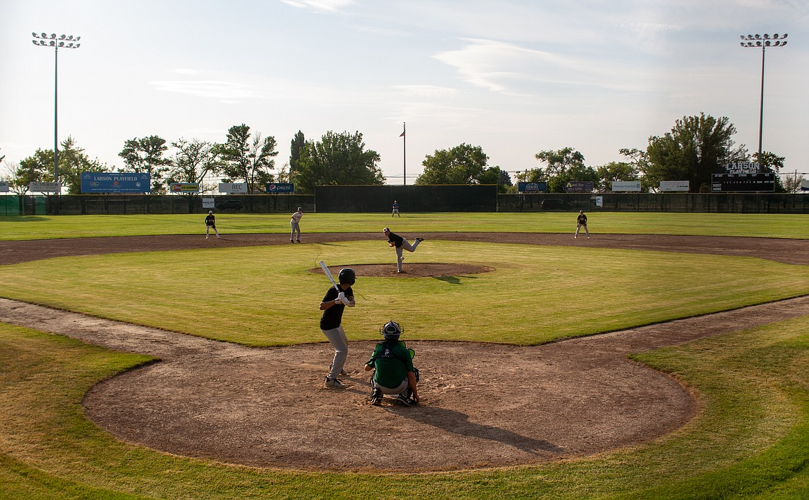 The Central Washington Spuds hold a team scrimmage in practice at Larson Playfield in Moses Lake as they gear up for their second game of the summer later this week.