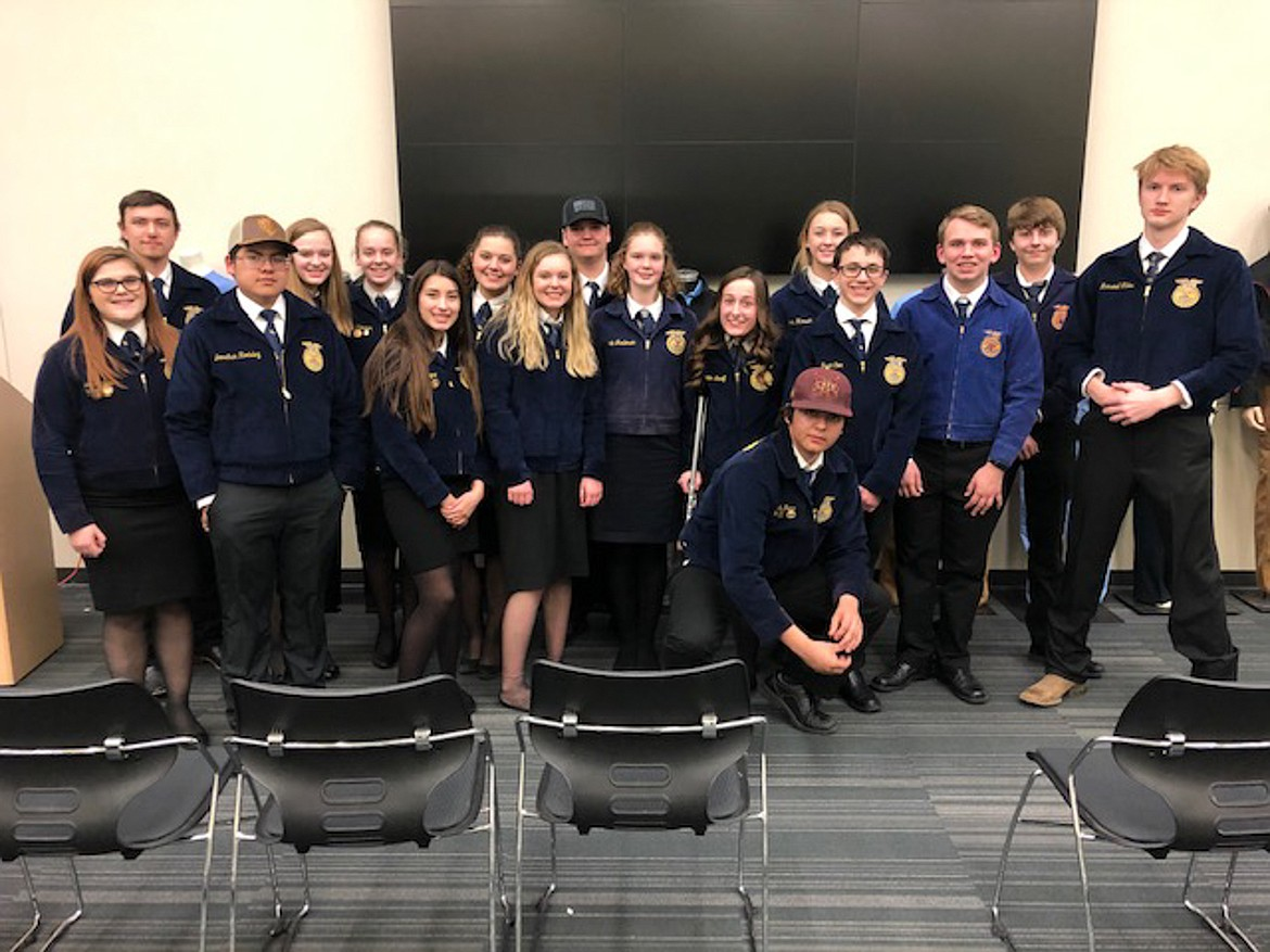Moses Lake FFA members pose together at the final District IX competition that was held before competitions and contests started to be canceled this spring.