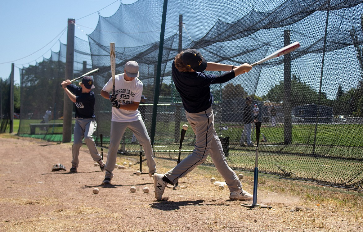 Columbia Basin Riverdogs players line up for hitting practice in Ephrata on Wednesday afternoon as they get set to get back to action after a short break for the holiday weekend.