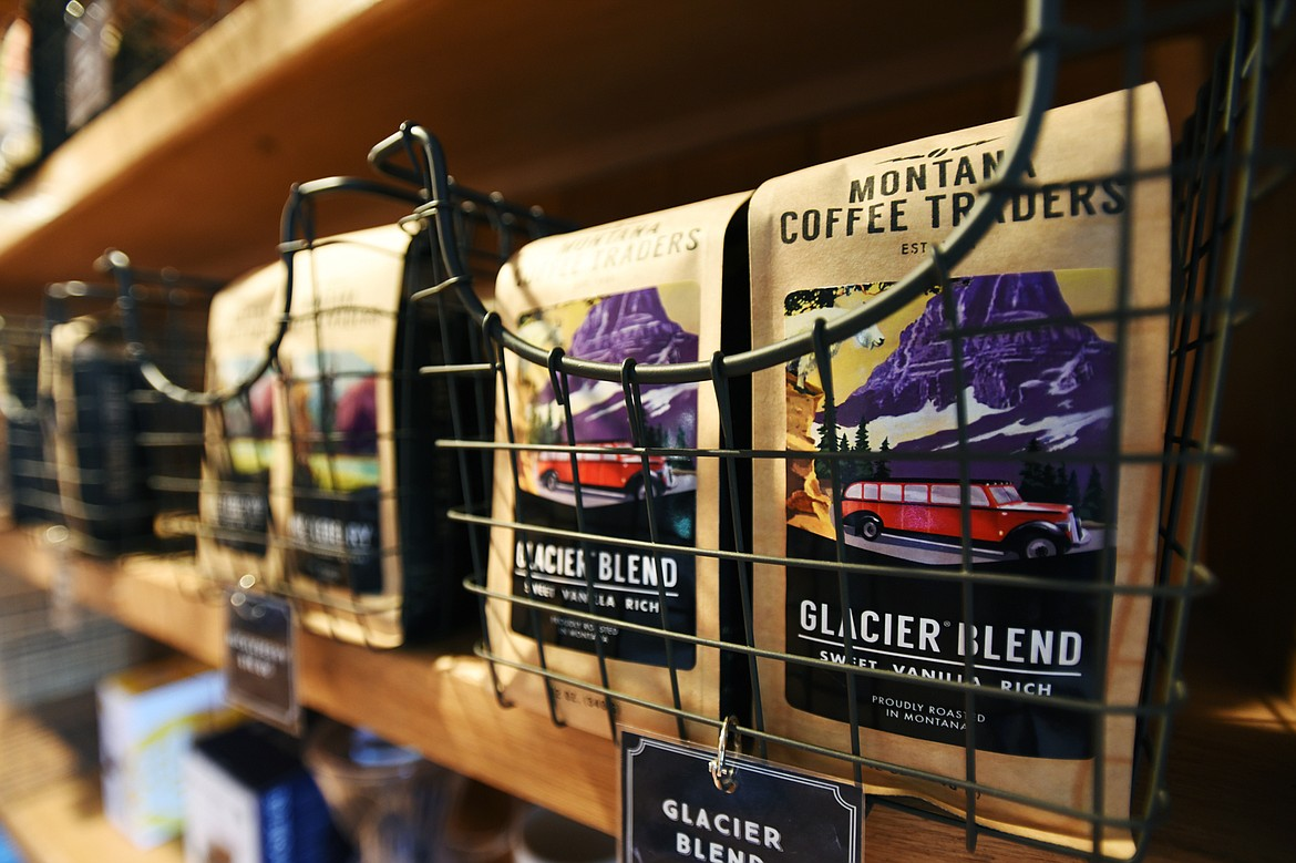 Bags of Glacier Blend whole bean coffee on display at the Montana Coffee Traders Mercantile.