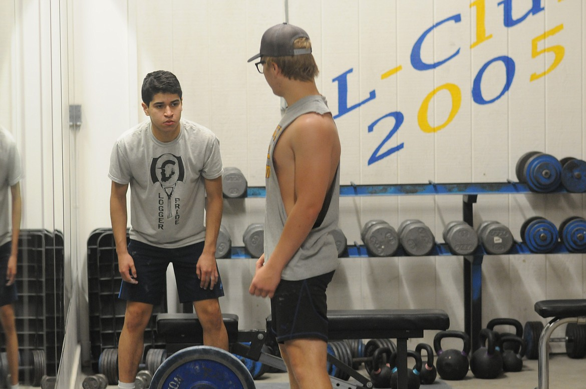 Logger student athletes participate in summer weight lifting training in Libby Middle High School gym on July 17 in anticipation of fall sports. (Will Langhorne/The Western News)