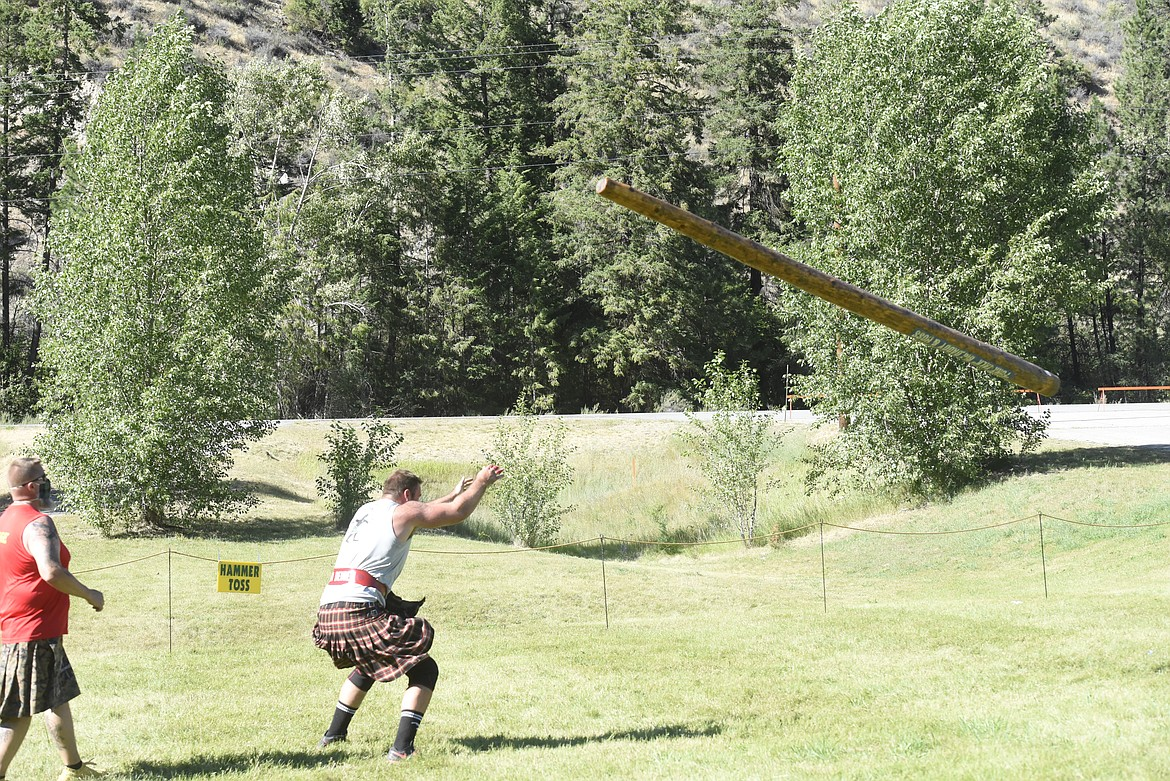 John Van Beuren of Boise, Idaho, competes in the caber toss. (Will Langhorne/The Western News)