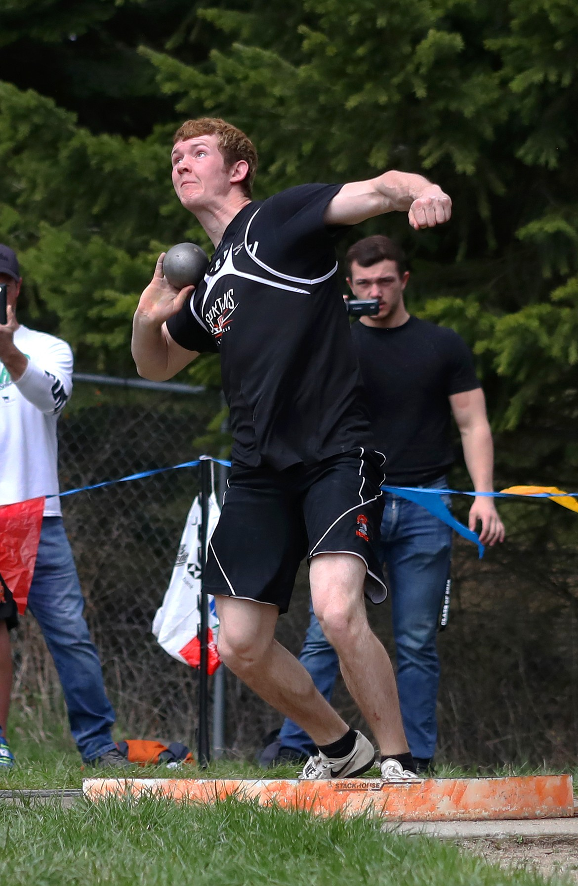 (Photo by KYLE CAJERO)   Priest River's Colby Poe throws the shot put during the Priest River Invitational on April 20, 2019. Poe is a finalist for the 3A-1A boys track award.