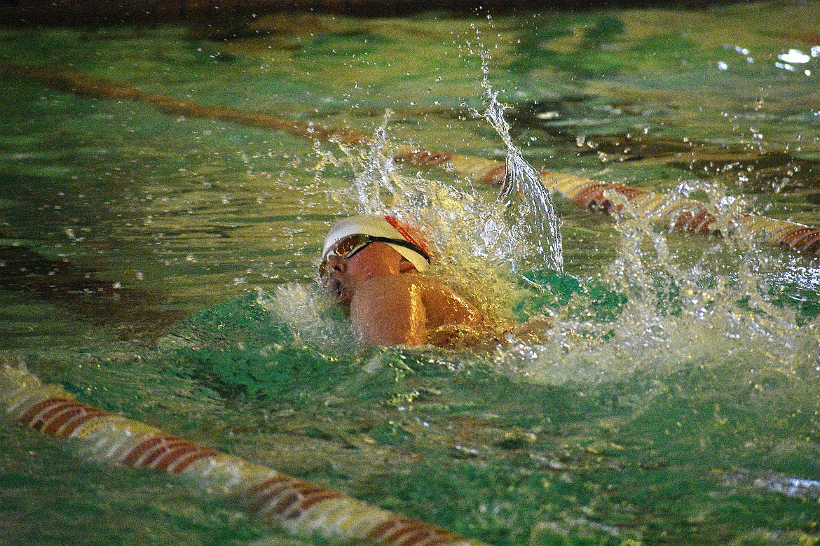 (Photo by DYLAN GREENE)   Senior Mikayla Schoening swims in the girls 200 free on Sept. 28 at Litehouse YMCA. Schoening is a finalist for the girls swimming award.