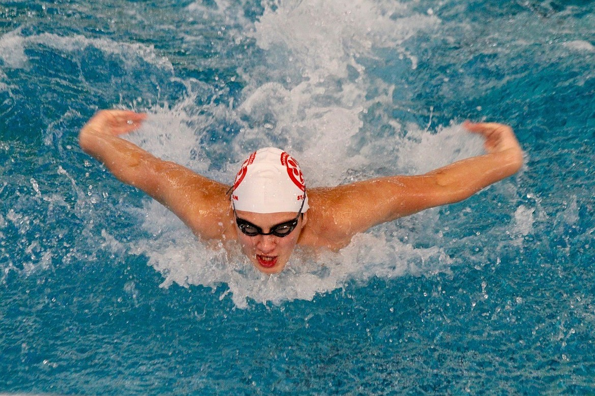 (Photo courtesy of JACINDA BOKOWY)   Sophomore Aidan Nielsen competes in the 4A state prelims on Nov. 8 at the Boise YMCA. Nielsen is a finalist for the boys swimming award.