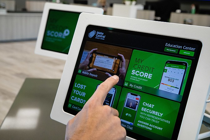 The newest ICCU branch in Coeur d'Alene features self-service tablets for credit union members to use.