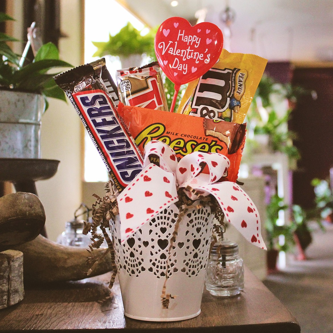 Photo by TONIA BROOKS A candy gram awaits its Valentine's Day recipient at Sugar Plum Floral.