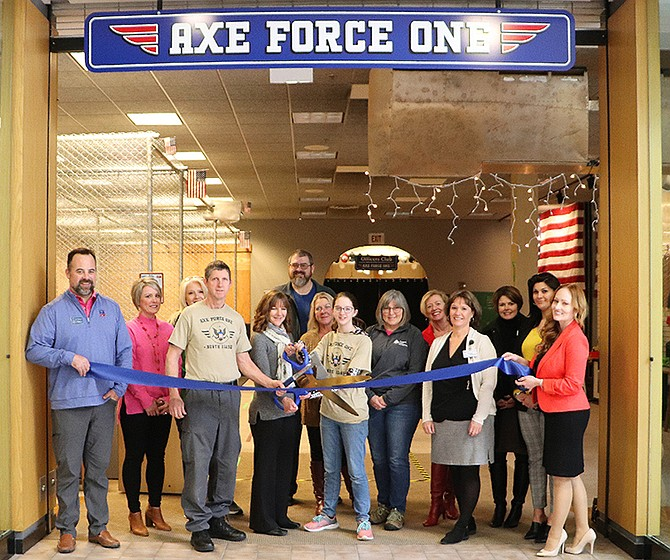 Courtesy photo The Coeur d'Alene Chamber of Commerce celebrated a ribbon cutting with Axe Force One, 200 W. Hanley Ave., Coeur d'Alene.