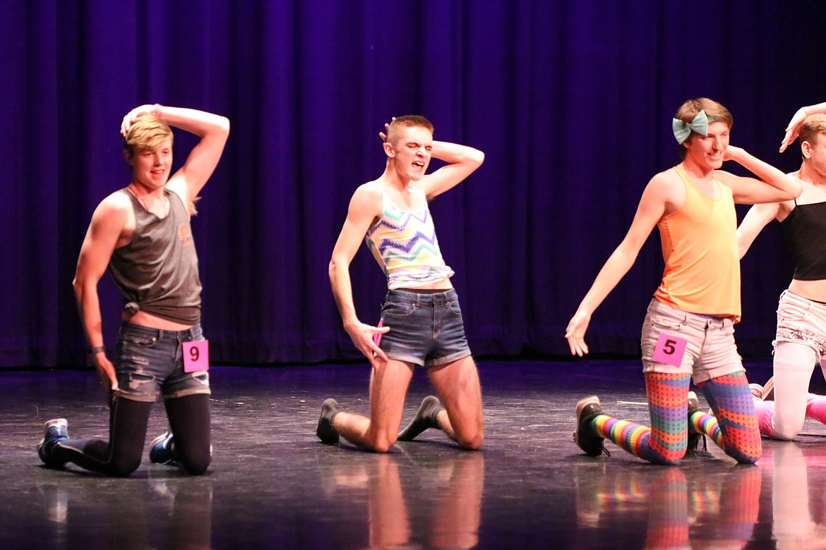 Photo by MANDI BATEMAN   2020 Mr. BFHS Battle of the Decades: The manly men took to the stage to prove who was the manliest.