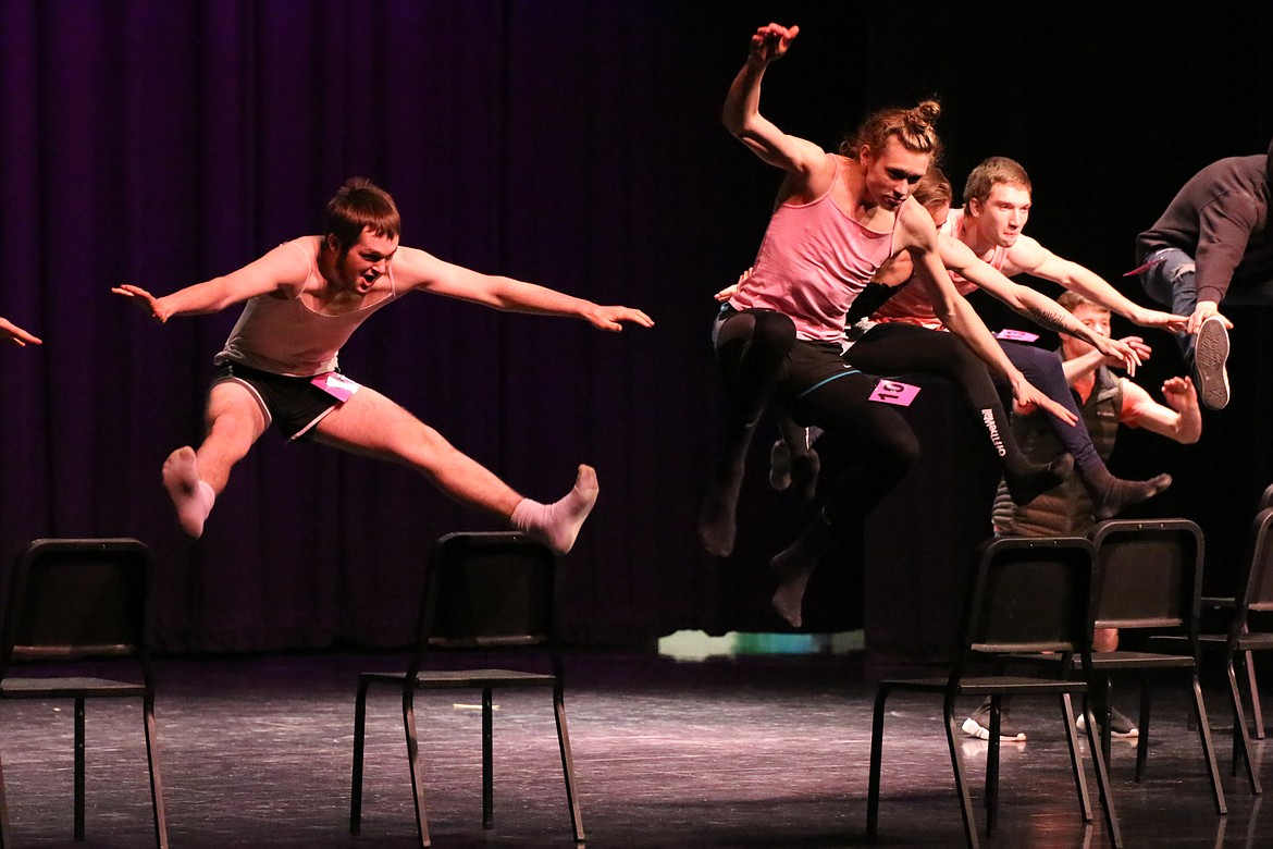 Photo by MANDI BATEMAN   2020 Mr. BFHS Battle of the Decades: Taking to the air.