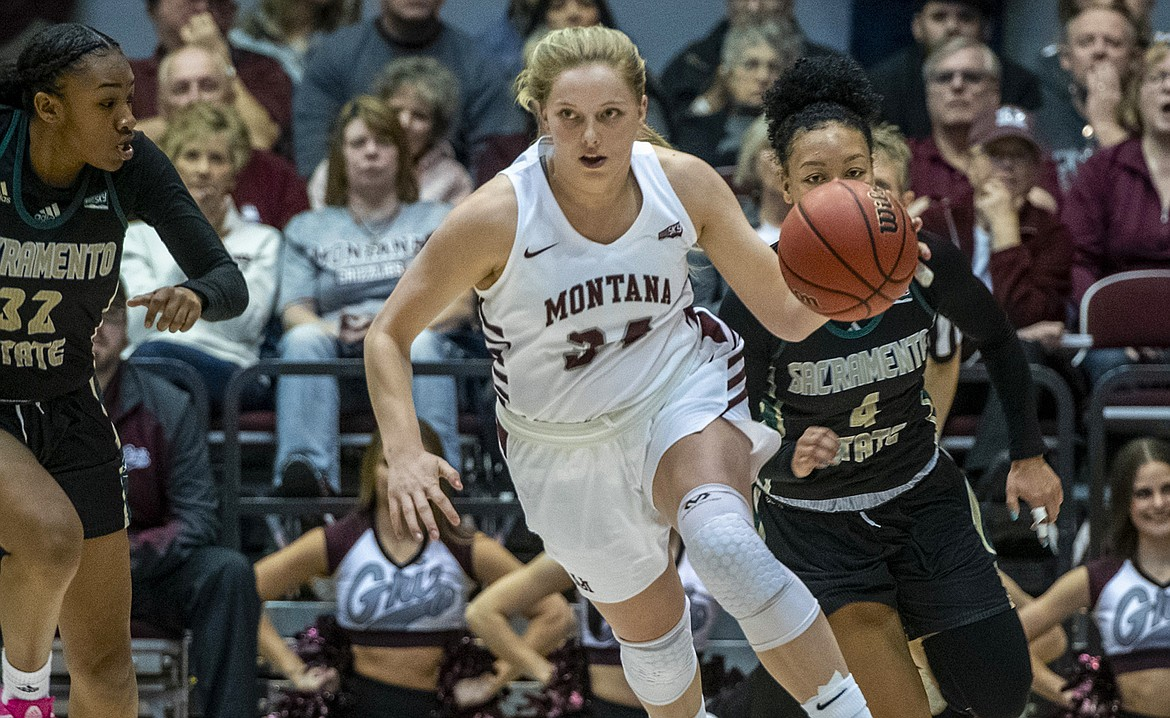Sandpoint grad Madi Schoening plays in a game for the University of Montana earlier this season. She averaged 6.7 points and 4.3 rebounds per game.