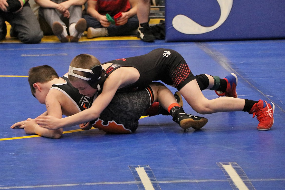 Maxx Watson completes a takedown on an opponent en route to a first place finish at the Kootenai Klassic Tournament on March 7.
