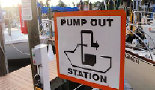 Universal Pump Out sign indicating available services.