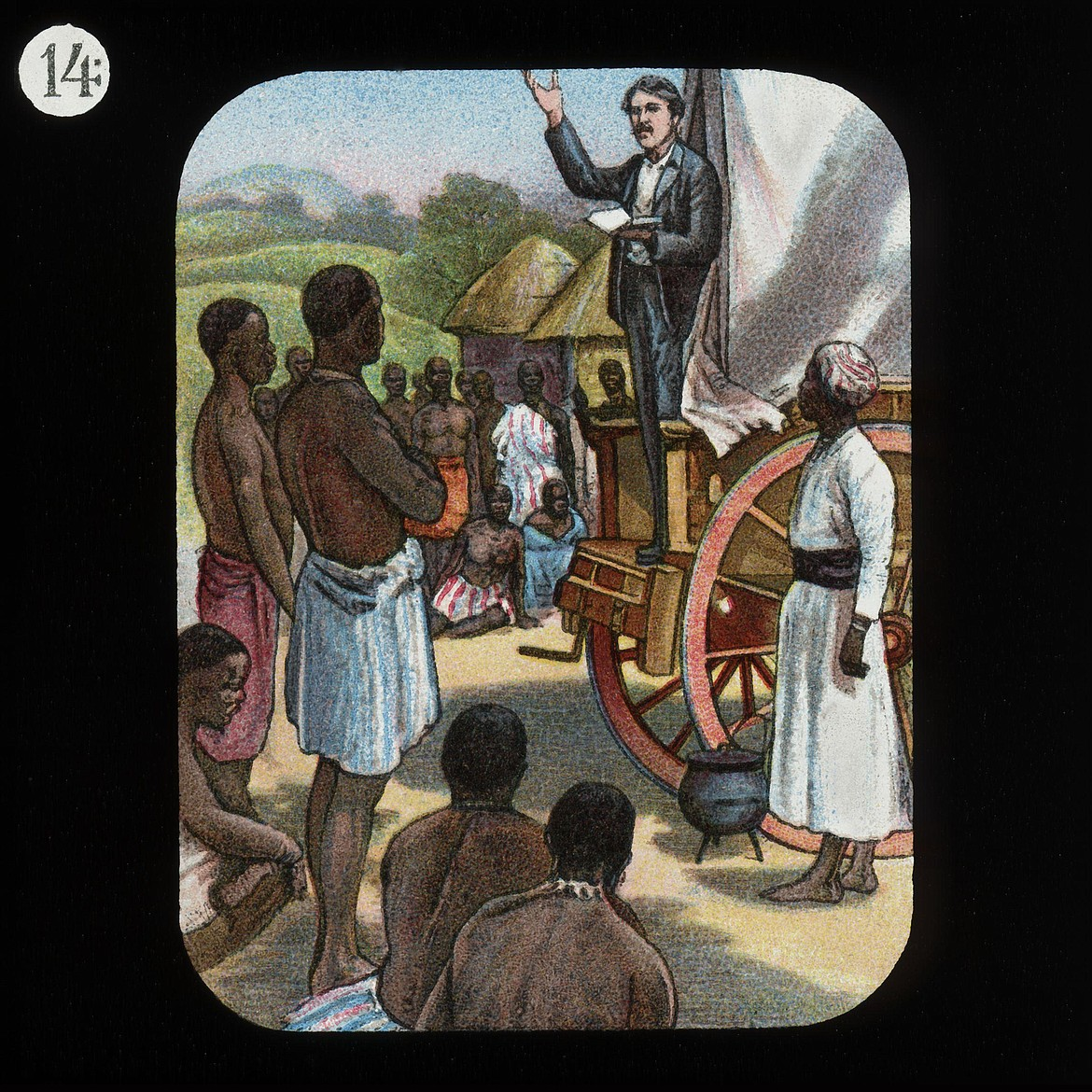 WIKIMEDIA COMMONS   David Livingstone preaching Christianity to Africans, converting only one person during his years of missionary work in the Dark Continent.