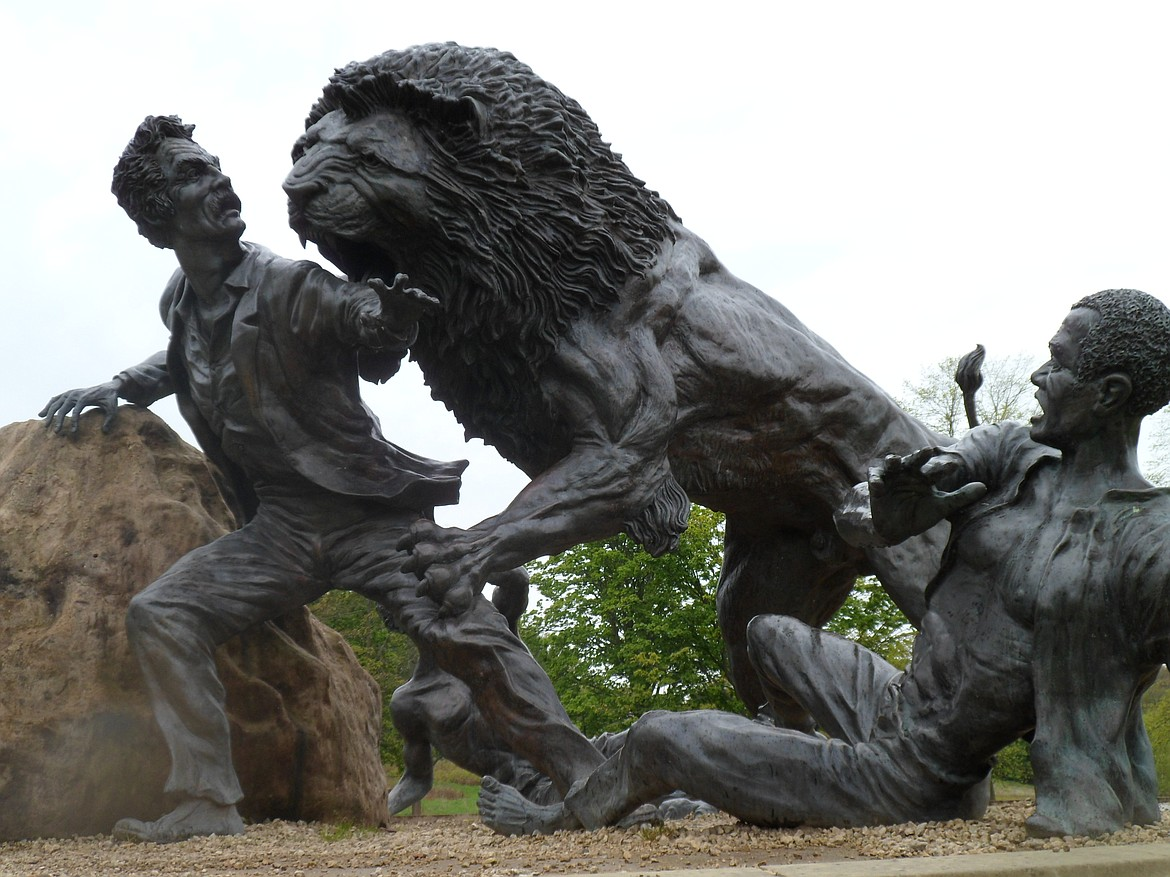 CREATIVE COMMONS   Statue depicting Dr. David Livingstone being severely wounded by a lion he was hunting that had been terrorizing Mabotsa in Botswana.