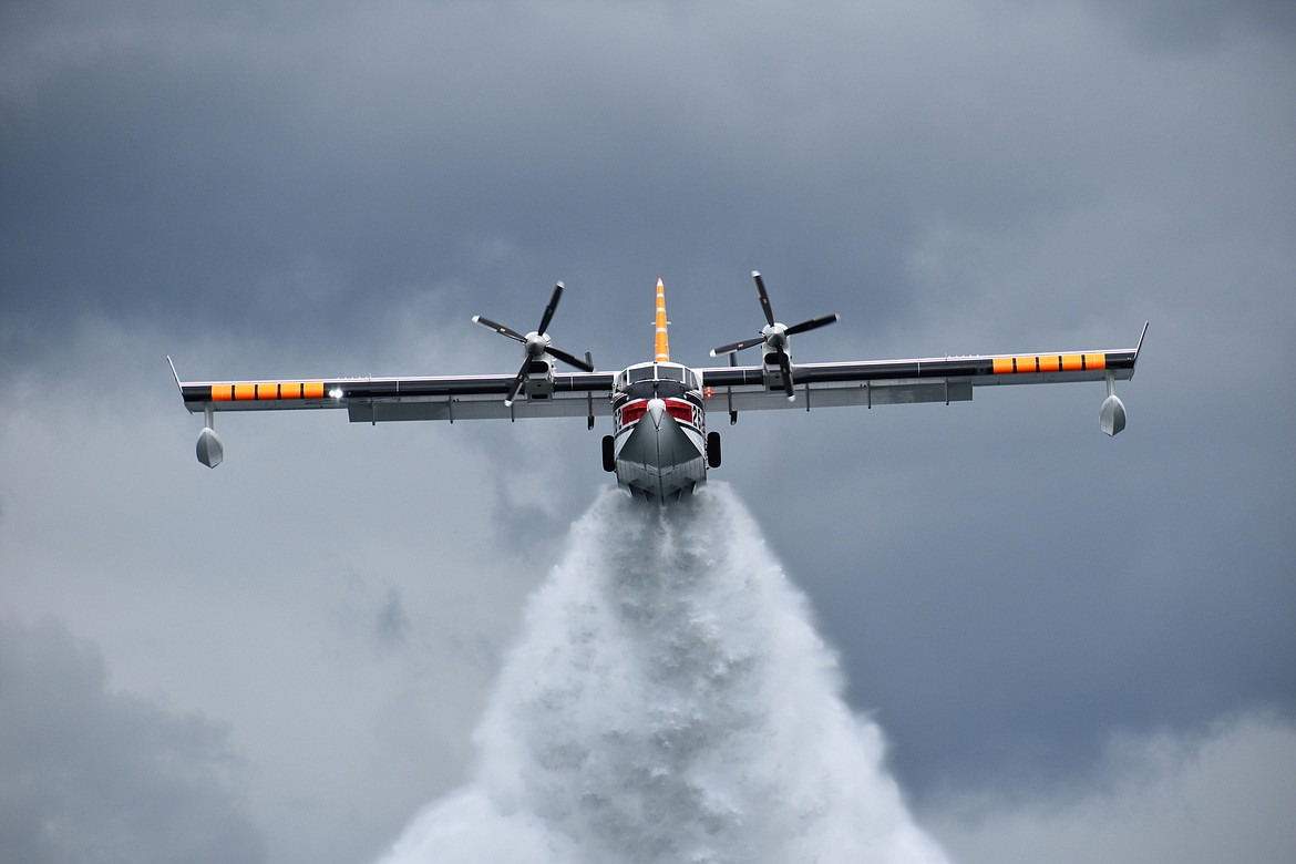 This Aero-Flite CL-415 water scooper is one type of aircraft that trains on Lake Coeur d'Alene. Most midair collisions occur in day visual meteorological conditions — the times of best visibility — within five miles of an airport. (Photo by MIKE KINCAID)