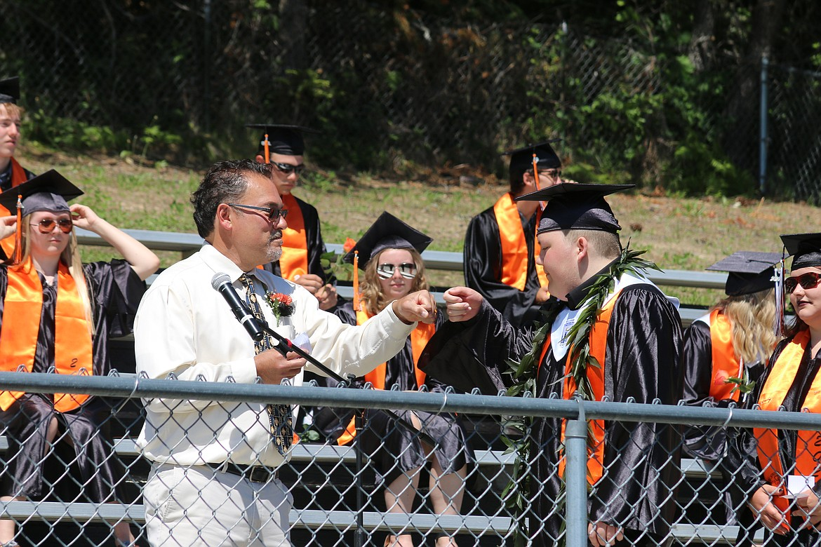 """(Photo by ALY DE ANGELUS)   Priest River Lamanna High School celebrated their senior students in a socially distanced, COVID-19 approved graduation on July 11 at 10 a.m. PRLHS held the final graduation of the season, and the only school in Bonner County to have wait for a """"traditional"""" outdoor-style event."""