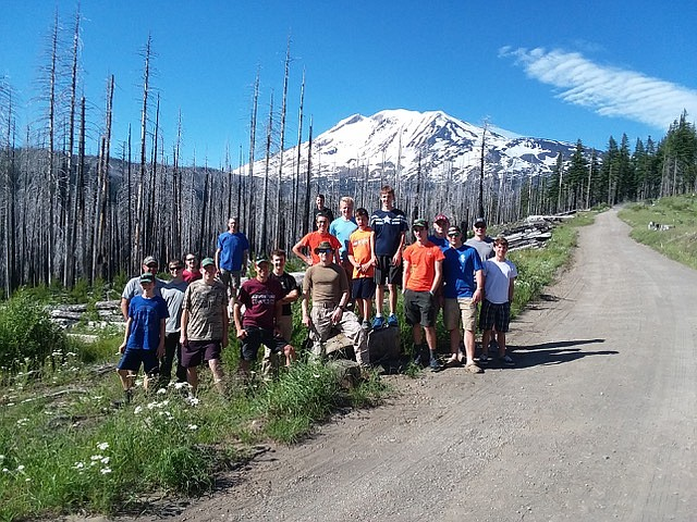 Trail Life troop led by Steve Meyer at Candlelight Church climbed 12,281 foot Mt. Adams in early July.