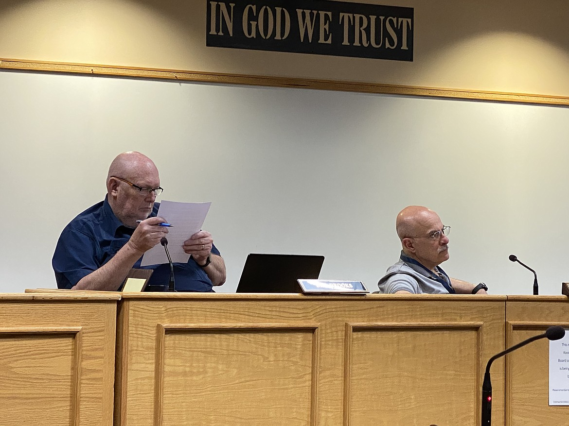 Kootenai County Commissioners tentatively set the bugdet in a Friday business meeting. From left: Commissioner Bill Brooks and Commissioner Chris Fillios. (MADISON HARDY/Press)