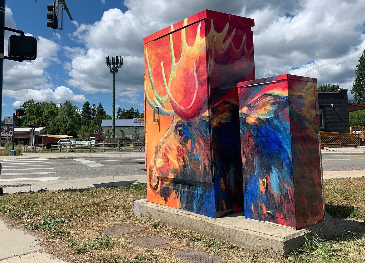 Maggie Dawson's moose mural was a clear favorite for use for a project by the Sandpoint Arts Commission and Historic Preservation Commission to wrap utility boxes around Sandpoint with artwork and historic photos.