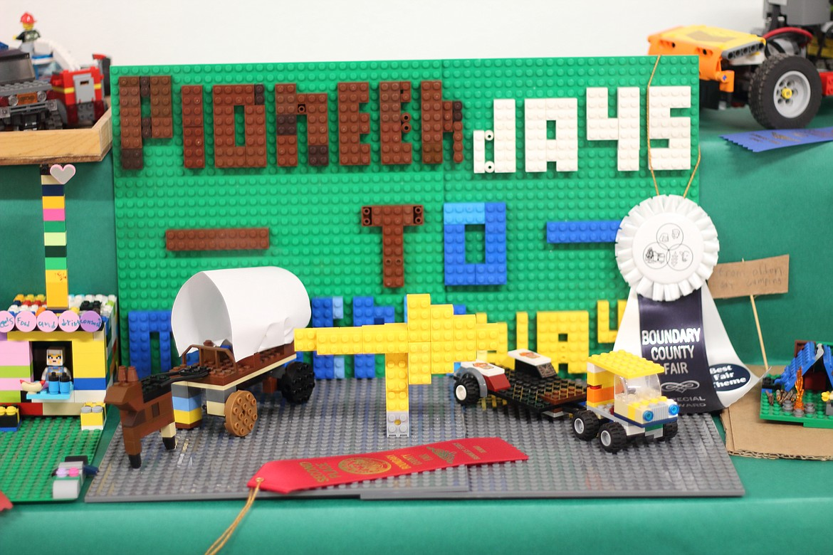 (Photo by VICTOR CORRAL MARTINEZ) Legos form the basis of a display at the Boundary County Fair last week.