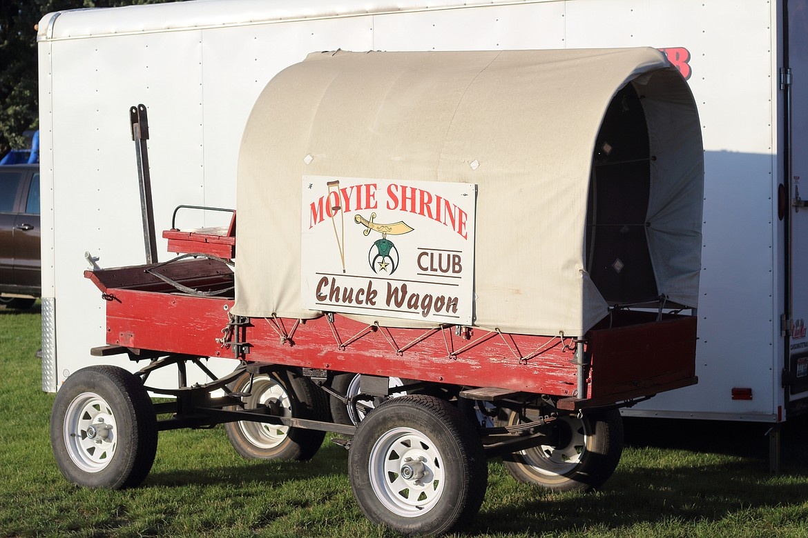 (Photo by VICTOR CORRAL MARTINEZ) The Moyie Shrine Club's chuck wagon makes an eye-catching display at the Boundary County Fair last week.