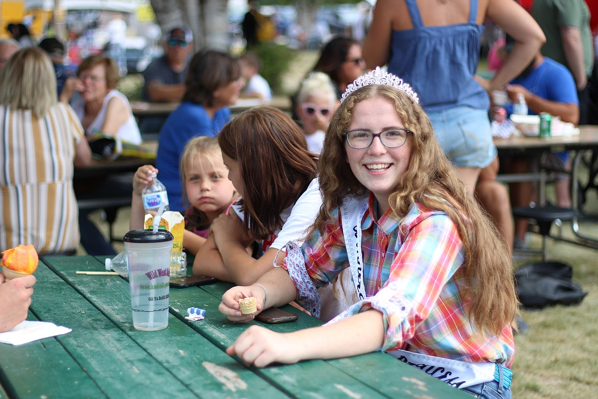 (Photo by HANNAH NEFF)   Fair Princess Aurla Palmer, 14, of Sagle Saddle Tramps said Friday her favorite part of the fair is meeting all the new people. Palmer participates in swine, archery, and know your government 4-H projects.