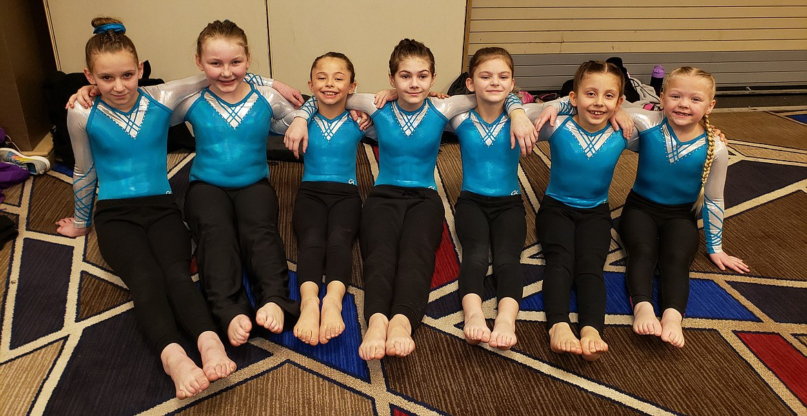Members of the Lake City Gymnastics Silver and Bronze Level Teams competed at the Great West Gym Fest at The Coeur d'Alene Resort Convention Center. The competition featured 1,500 gymnasts, as well as a few Olympians who came to support them. Pictured (from left) are the Lake City Bronze Level Team members Callie Clark, Nevaeh Schabell, Hallee Myles, Ella Wilkinson, Kendal Allen, Madelyn Furlin and Brailey Hennings.