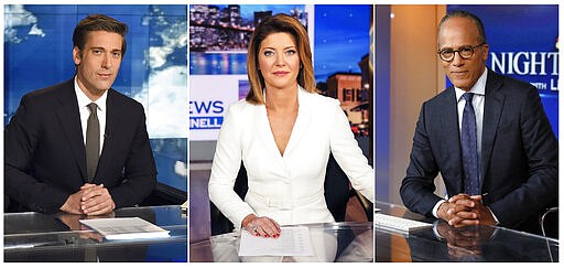 """This combination photo shows network news anchors, from left,  David Muir on the set of """"World News Tonight with David Muir"""" on ABC,  Norah O'Donnell, host of the new """"CBS Evening News with Norah O'Donnell,"""" and Lester Holt of """"NBC Nightly News with Lester Holt"""" and """"Dateline"""" anchor Lester Holt. Twenty years ago the network evening news was considered on the brink of extinction. But more than 32 million people tuned into these broadcasts, along with the """"CBS Evening News with Norah O'Donnell,"""" each night for a rundown of the day's coronavirus developments. (ABC, from left, CBS via AP, and AP Photo)"""