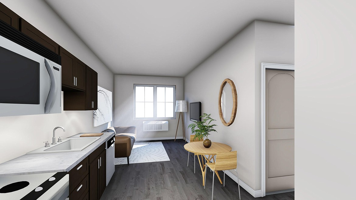 This artist's rendering shows the open floor plan of the new Highline Apartments.