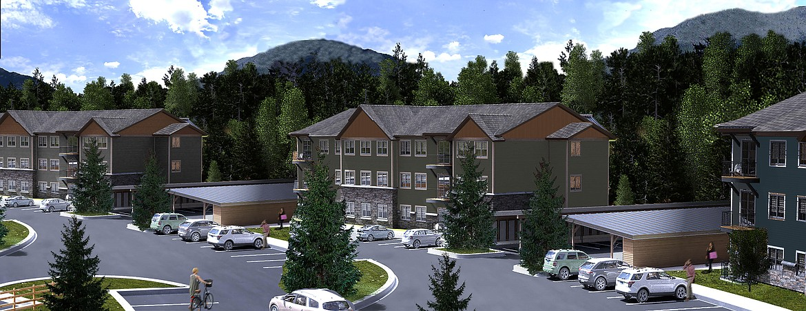 This artist's rendering shows the plans for the exterior of the Highline Apartments in Columbia Falls. Phase one of the complex is expected to be ready for occupancy in August.
