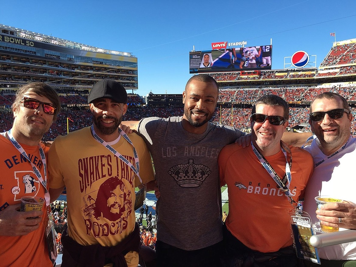 <p>Courtesy photo</p><p>Pictured from left are Jake Plummer, Ty Hamilton, Isaiah Mustafa, Brett Plummer and Eric Plummer, soaking up the sun and spectacle that was Super Bowl 50.</p>